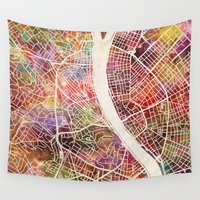 budapest Wall Tapestries featuring Budapest  by MapMapMaps.Watercolors