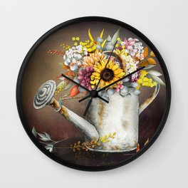 Farm Sunflowers in Watering Can Wall Clock