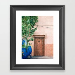 """Marrakech Travel Photography """"Wooden door on coral wall   Colorful wanderlust photo print Framed Art Print"""