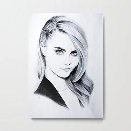 Cara Delevingne Pencil Portrait. Metal Print