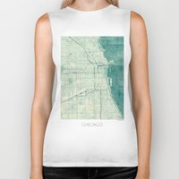 vintage map Biker Tanks featuring Chicago Map Blue Vintage by City Art Posters