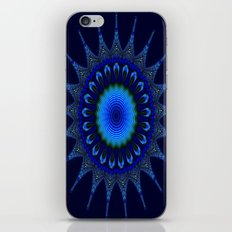 Blue kaleidoscope fractal star iPhone Skin