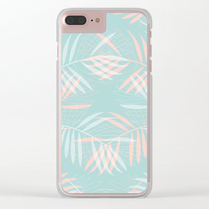 Palm Leaves Lace on Aqua Clear iPhone Case