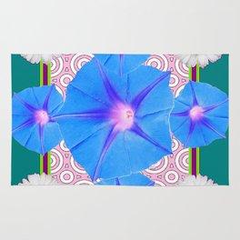 Blue Morning Glories & Shasta Daisies Teal Art Rug