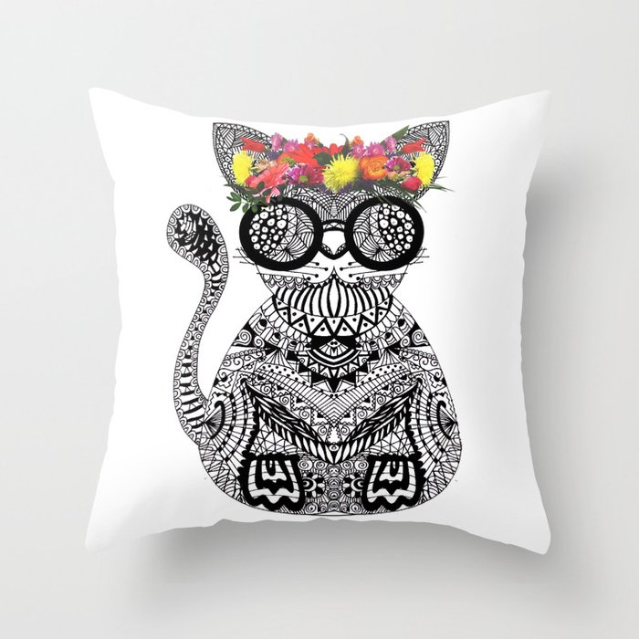 Throw Pillow Doodle : Funky cat doodle Throw Pillow by thebuttonartstudio Society6