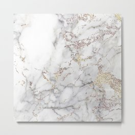 Champagne Rose Gold Blush Metallic Glitter Foil On Gray Marble Metal Print