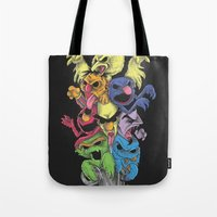 sesame street Tote Bags featuring A Sesame Street Thriller by Anwar Rafiee