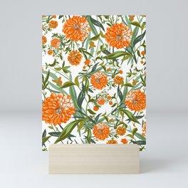 Orange Spring Summer Flowers Boho Mini Art Print