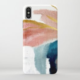 Exhale: a pretty, minimal, acrylic piece in pinks, blues, and gold iPhone Case
