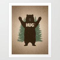 hug Art Prints featuring Bear Hug by powerpig