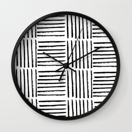 Modern black white watercolor paint brushstrokes Wall Clock