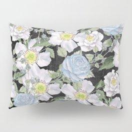 Vintage Rose Pattern Blue On Chalkboard Pillow Sham