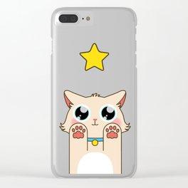 Cream Pastel Cat Clear iPhone Case