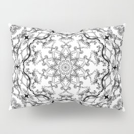 Mandala Project 214 | Black and White Lace on White Pillow Sham