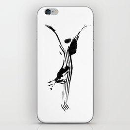 Black and white, minimalist, modern yoga pose illustration for yoga studio, yoga art, drawing, om iPhone Skin