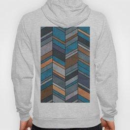 Colorful Concrete Chevron Pattern - Blue, Grey, Brown Hoody