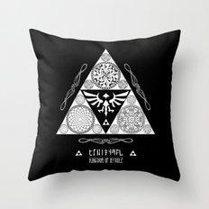 Legend of Zelda Kingdom of Hyrule Crest Letterpress Vector Art Throw Pillow
