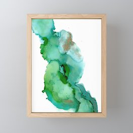 Alcohol Ink on yupo - Greens and Gold Framed Mini Art Print