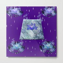 Water Lily Rain Metal Print
