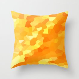 Polygonal Yellow and Orange Stained Glass Mosaic Throw Pillow