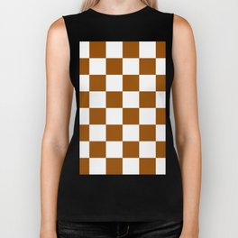 Large Checkered - White and Brown Biker Tank