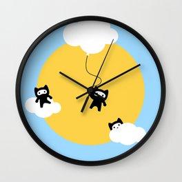 Ninja cats in the sky Wall Clock