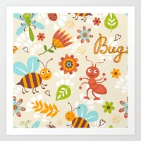 bugs Art Prints featuring Bugs by olillia