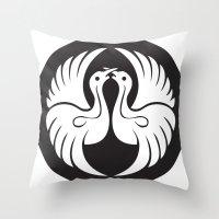 religious Throw Pillows featuring Black And White Birds-Religious Symbol by ArtOnWear