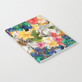 tiger and colorful flowers Notebook