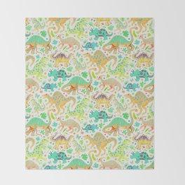 Happy Dinos - citrus colors Throw Blanket
