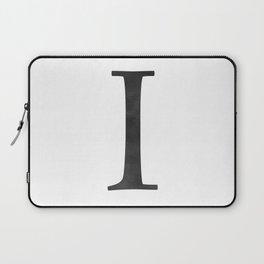 Letter I Initial Monogram Black and White Laptop Sleeve