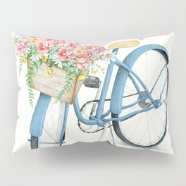 Blue Bicycle with Flowers in Basket Pillow Sham
