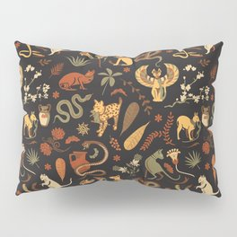 Egyptian house guardians | black Pillow Sham