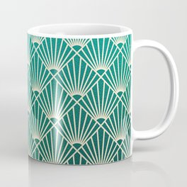 Teal golden Art Deco pattern Coffee Mug