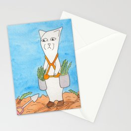 Meow the Cat plants a leaner and throws his shovel in disgust Stationery Cards