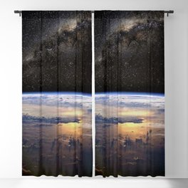 Space Station view of Planet Earth & Milky Way Galaxy Blackout Curtain