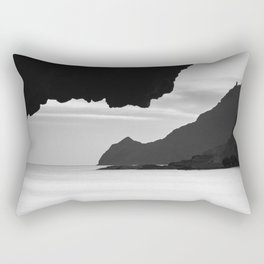 Half Moon Beach. Vela Tower Cliff. Bw Rectangular Pillow
