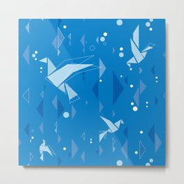 Origami birds in blue Metal Print