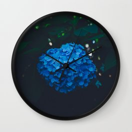 CLOSE-UP PHOTOGRAPHY OF BLUE PETALED FLOWER PLANT Wall Clock