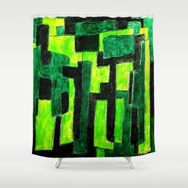 Three Green Puzzle Shower Curtain