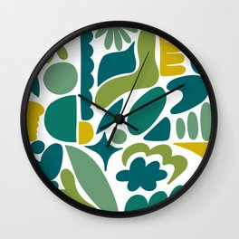 Modern Organic Abstract / Green-Yellow to Green-Blue Hues on Light Background Wall Clock
