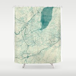 Geneva Map Blue Vintage Shower Curtain