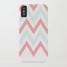 Mint & Coral Chevron (2) iPhone Case