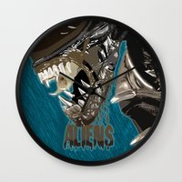 aliens Wall Clocks featuring Aliens by OzoneO3
