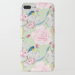 Shabby Chic Bluebirds and Roses iPhone Case