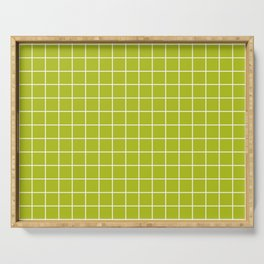 Acid Green - Green Color - White Lines Grid Pattern Serving Tray