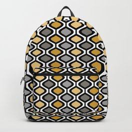 Mid Century Modern Rounded Diamond Pattern // Black, Gray, Gold, Butter Yellow // Version 1 Backpack