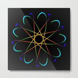 Guilloche Violet and galactic signs. Four neon objects for a certificate or a voucher. Metal Print