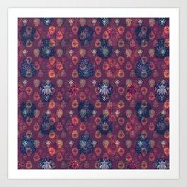Lotus flower - orange and blue on mulberry woodblock print style pattern Art Print