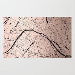 Paris France Minimal Street Map - Rose Gold Glitter on Black Rug